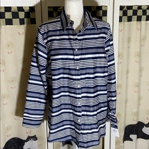 Chaps no iron navy and white striped Button Shirt